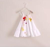 DS4032  free shipping Girls cotton white sprint catim  sleeveless dress  5PCS/LOT
