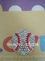DHL Free Shipping 35mm  2014 Hot sale Baseball rhinestone pendants for necklace
