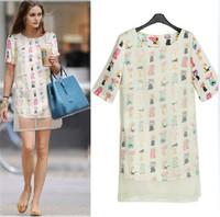 New 2014 Fashion Summer Dress Chiffon Cartoon Print Dress Organza Patchwork Straight Dress Printed White Casual Dresses 2204