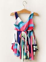 1404c 37631574061 Ladies wind multicolored rainbow striped dress harness dress girls
