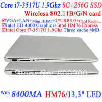 Hot Sale Notebook Laptop PC 13.3'' i7-3517U1.90GHz Dual Core Four Threads CPU included 1366*768 8400MAH Battery 8G RAM 256G SSD