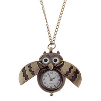 2014 New ArrivalFreeShipping 10pcs/lot Unisex Owl Style Vintage Alloy Quartz Analog Pocket Watch with Chain10325#
