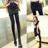 Women's  Pants With Mini Skirt Beveled Zipper False Two Pieces Leggings 2 In 1 Pants 9041