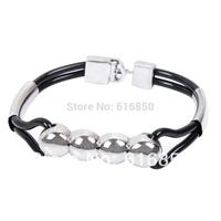 Korean Style Fashion Men's Bracelet Leather Men Jewelry Simply Men's Bracelet Steel Beads Bracelet Free Shipping 6047