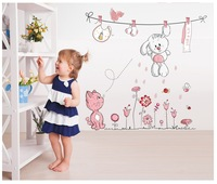 New 2014 Pink Cartoon Cat Drying Clothes Wall Sticker For Baby Girls & Kids Rooms Home Decoration Wall Decals