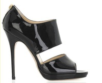 patent leather pumps brand women pump sexy peep-toe  pumps high heels black beige  new 2014 high heels pumps