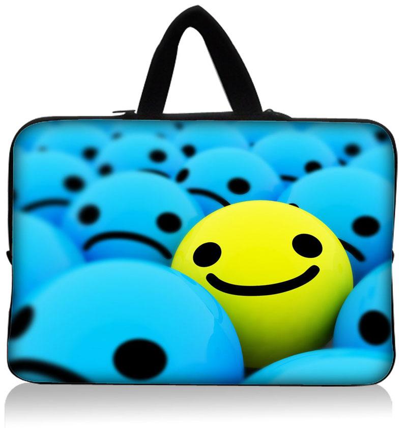 "HOT ! Cor Smiley "" 15.3"" Neoprene Laptop Sleeve Case Holder 15,1 Netbook Bolsa Bag Capa Protector Handle Dustproof impermeável(China (Mainland))"
