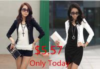 10/lot 2014 Spring Autumn Women Rhinestone Rivet Cotton Blazer Lady Casual Long-sleeve Short Jacket Cape Coat White Black S-XXL