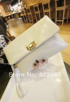 Fashion genuine leather female elegant clutch evening bag long chain messenger bag casual envelope bag