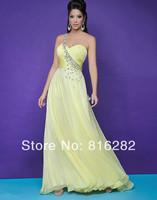 Wholesale - 2014 New  Fashion Sexy Sheath Column With Beautiful Crystal One-Shoulder Long Beads Chiffon Graduation Dresses