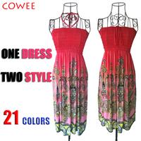 2014 NEW Sexy Summer Beach Women Fashion Casual Long Beach print Boho Tee Dress Sundress Wholesale S M L +free shipping