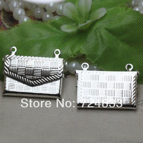 New Silver tone Plated Wallet Shape Wish Box Prayer Photo Locket Frame Pendant European Charms Pendants Bulk Wholesale(China (Mainland))