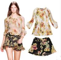 2014 New Summer Women Print Brand Tops Clothing Set Fashion Show Style Chiffon Blouse Skirt + Flower Shorts