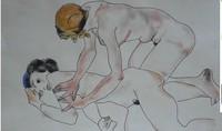 Rare unique original watercolor painting, signed Egon Schiele  Picasso Miro era