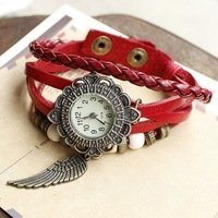 Free shipping wholesale dropship 2014 hot sale fashion flying wing flower case beads braided handmade quartz watch women leather