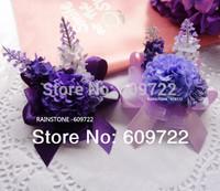 New Prom Fabric Handmade Artificial Lavender 10pcs Boutonniere Wedding Decoration Bride Wrist Corsage Flower Bracelet FL1397