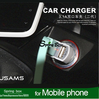3.1A Micro Dual USB port Car Charger usams vehicle Adapter for iphone 4 samsung galaxy htc LG for smart phone free shipping