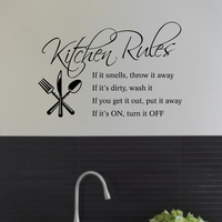 Kitchen Rules Quote  Wall Sticker Vinyl Art Decals Wallpaper Mural Home Decor For Kitchen Room