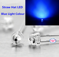 Free shipping 1000pcs 5mm (4.8mm) Straw Hat LED Blue Light Emitting Diode  5MM Blue Colour LED emitting diode