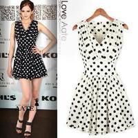 Women's Vintage V-neck sleeveless High Waist Dress Slim Pleated One-piece Dress New 2014