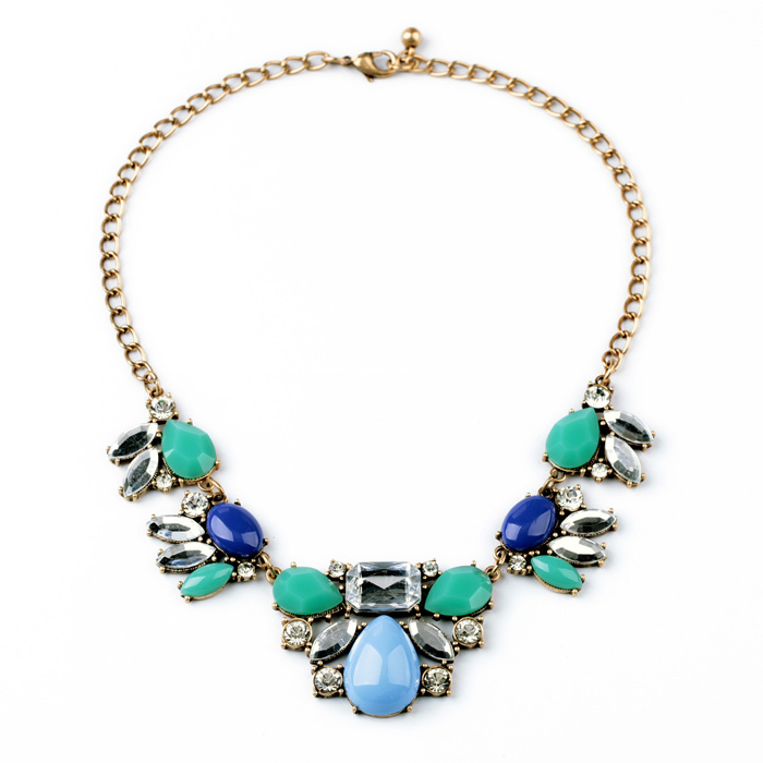 New Styles 2014 Statement Fashion Women Jewelry Blue Resin Water drop Necklace