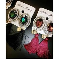 D4148 Fashion New Disc Retro Big Gem Earrings Woman Rhinestone Pearls Tassel Earrings For Women Dangle earring  Accessories