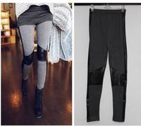 2014 New Arrival Legging For Women Fashion PU Leather+Cotton Leggings Patchwork Elastic Pants Plus Size LG-616