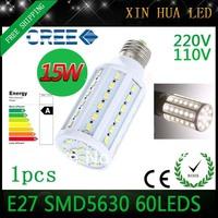 1pcs E27 B22 E14 110V/220V 15w smd 5630  60leds lampada led lamp  corn light bulb LED Bulbs & Tubes free shipping