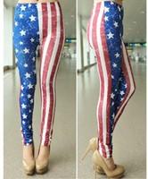 2014 New Arrival Legging For Women Fashion Flag Striped Print Leggings  Elastic Pants Plus Size LG-610