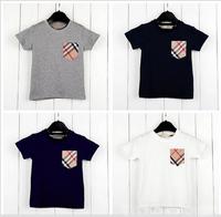 2014 Hot Sale Children Kids Clothing Tees Children's T-shirt pocket plaid short-sleeved T-shirt boys summer baby t shirt 2-6Y
