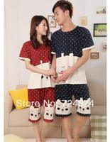 Couple pajamas suits, two-piece, 2014 new summer pajamas Men Women  cardigan suit tracksuit Pocket striped pajamas