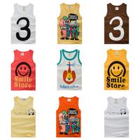 2014 children's clothing summer child vest boy girl child vest 100% cotton sleeveless shirt cartoon t shirts free shipping