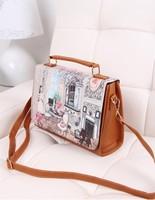 2014 spring new fashion handbag fashion bag package printing landscape character belfry Mobile Messenger bag