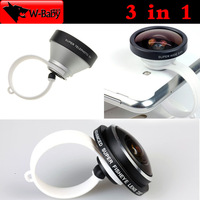 Universal Clip 235 degree Super Fish eye + 0.4x Super Wide + 5x Super Telephoto 3 in 1 lens for iPhone Samsung mobile phone lens