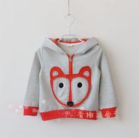 Hot Sale!5pcs/Lot,Wholesales!Children Kids Clothing Hoodies,Cute Fox Baby Boys Girls' Hooded Zip Hoodie Jacket,kid's Outerwear