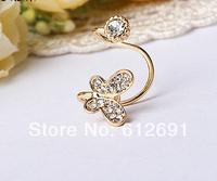 Butterfly ear clips fashion 2014 crystal non pierced ear clip charms ear cuffs earrings jewelry wholesale LM-C304 NEW
