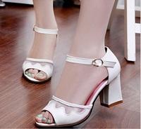genuine leather high heels women sandals 2014