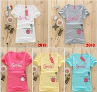 (Alice)Free Shipping 2013 New Womens Style Fashion Short sleeve Top Tees Tshirt Cartoon Printing Five Colour Cotton Shirt