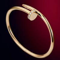 Luxury Brand Stylish  Nail Bangle Women Crystal Rhinestone Bracelet Bijoux Titanium Stainless Steel 18k Gold Plate Jewelry