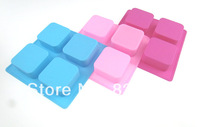 Free Shipping 1 Link 4 Hole Silicone Cake Mould Square Handmade Soap Pudding Ice Cube DIY Chocolate Mold