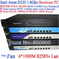 Full Gigabit multi wan router firewall Barebone with 6 82583v RJ45 Intel D525 1.8G support ROS Mikrotik PFSense Panabit Wayos