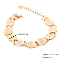 USA fashion Rihanna Inspired Trendy wide 13mm Gold Medallion Chunky chain Stretch Bangles & Bracelets for women Free shipping
