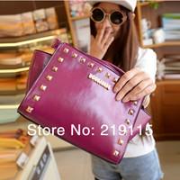 Spring Korean fashion rivet handbag shoulder bag handbag, messenger bag casual handbag factory direct Free Shipping