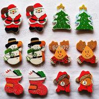 100PCS/LOT.Glitter christmas stickers,Fridge sticker,3D Wall stickers,Kids room decoration.Home ornament,Craft material,6 design