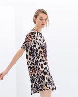 New Women Animal Leopard Print Short Sleeve Pleated Dress, Ladies Casual Pullovers Mini Dress q219