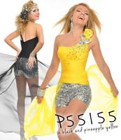 Free Shipping Hot Sale 2014 New Arrival Fashion Mini Sheath One Shoulder Black Yellow Cocktail Dresses Women OC9099