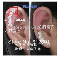 Hot fashion flower earrings non pierced ear clip charms ear cuffs 2015 girl crystal Butterflyearring LM-C307 girl love earrings