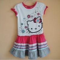 hello kitty princess dress for girls 2014 new children's clothing cartoon dresses kids wear girl's summer clothes