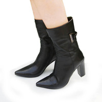 Fashion 2013 single boots genuine leather high-heeled boots spring and autumn thick heel martin boots medium-leg