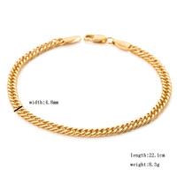 "18K yellow gold chain for men  9"" 4.8mm 8.3 grams lovers double cuban bracelets & bangles factory cheap seller"